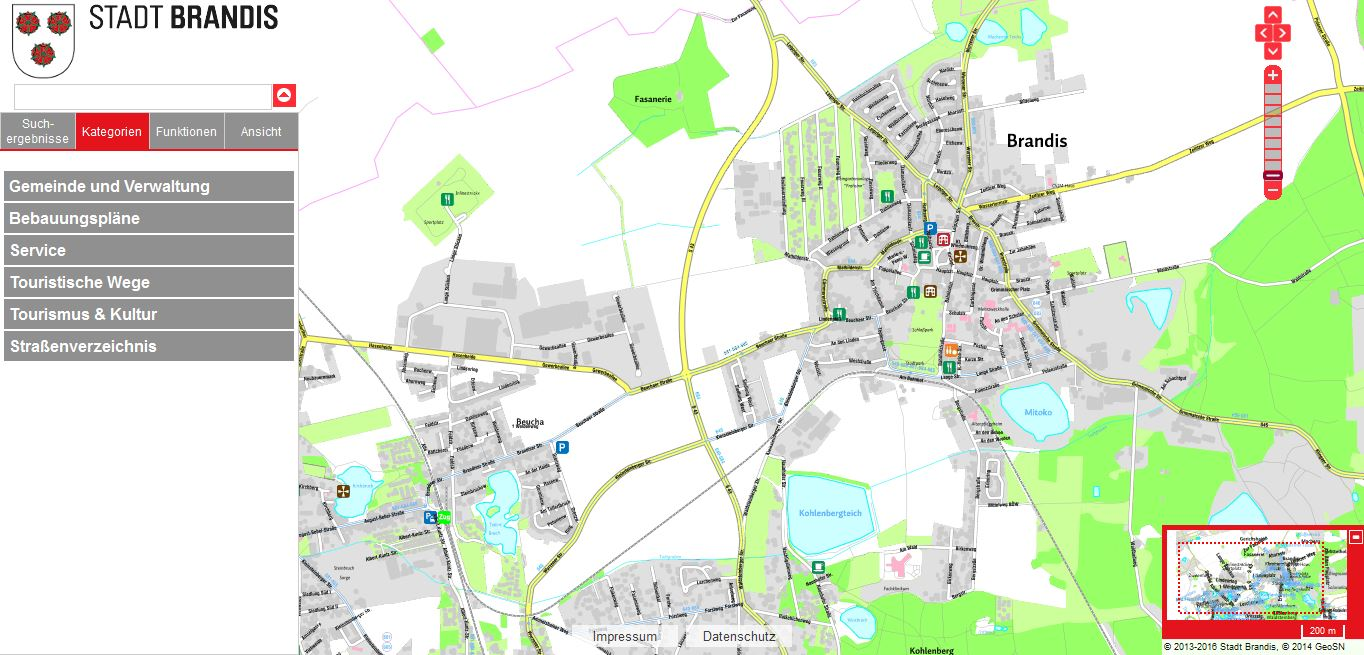 Screenshot Online Stadtplan